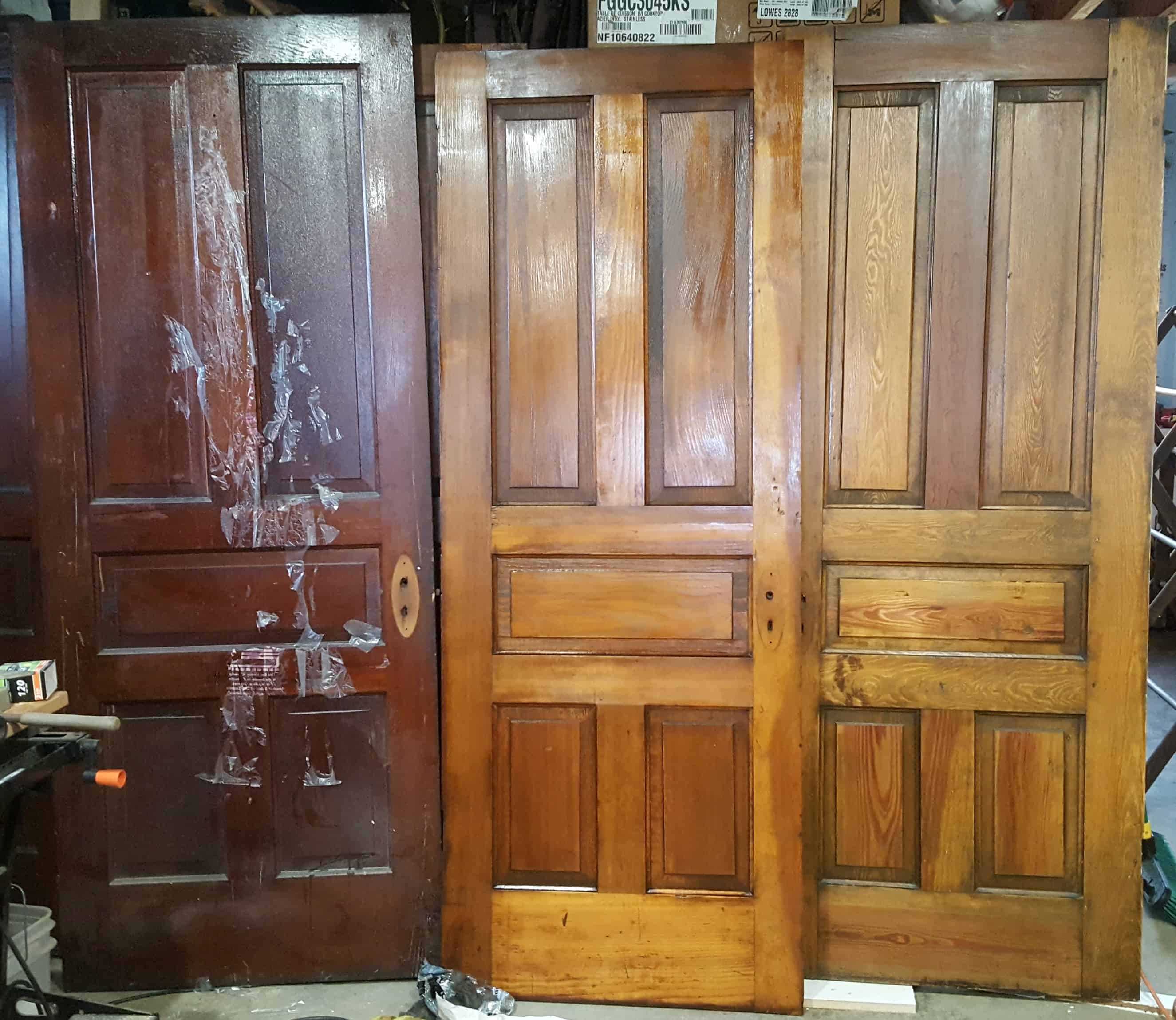 DIY, antique door, refinish, shellac